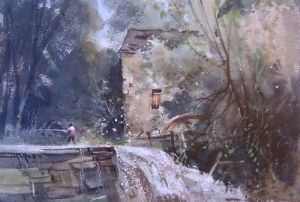 J BARRIE HASTE - Knaresbrough Watermill, Yorkshire - Watercolour - SOLD
